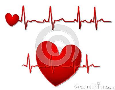Corazón rojo y líneas de EKG