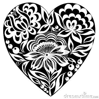 Corazón y flores de la silueta en él. Imagen blanco y negro. Viejo estilo