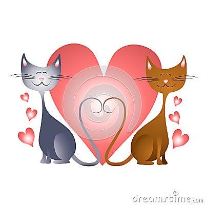 Corazones del día de tarjeta del día de San Valentín con los gatos en amor
