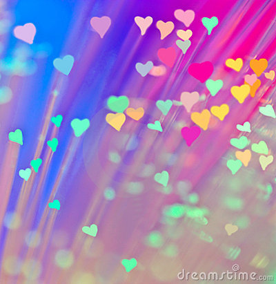 Corazones en fondo colorido