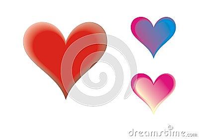 Corazones multicolores