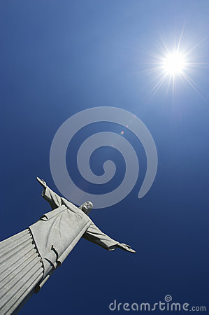 Corcovado Christ the Redeemer Blue Sky Sun Vertica