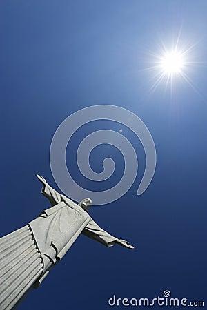 Corcovado Christ the Redeemer Blue Sky Sun Vertica