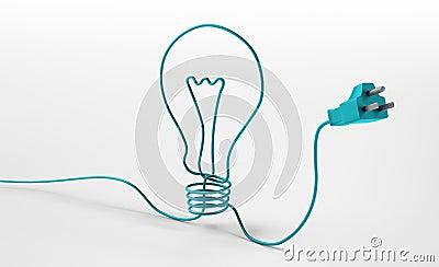 Cord forming a bulb symbol