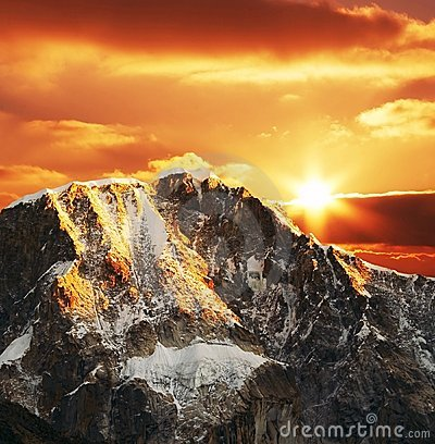 Cordilleras mountain on sunset