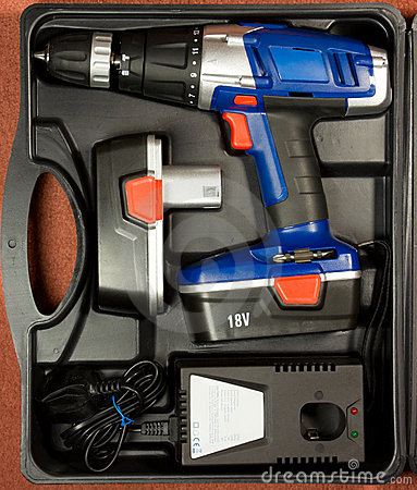 Cordless hammer drill kit in black case
