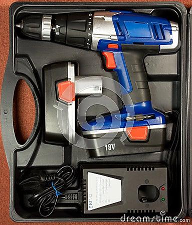 Cordless hammer drill kit in black case