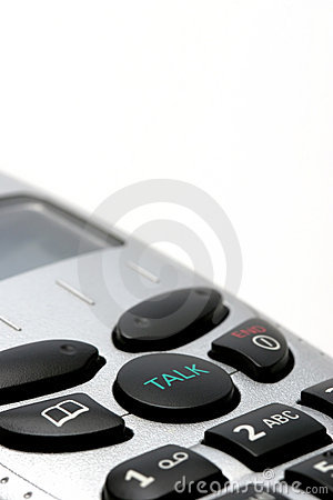 Cordless phone handset macro over white