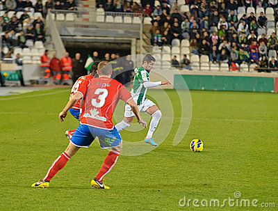 CORDOBA, SPAIN - JANUARY 13: Cristian García W(7) in action during match league Cordoba(W) vs Numancia (R)(1-0) Editorial Stock Image