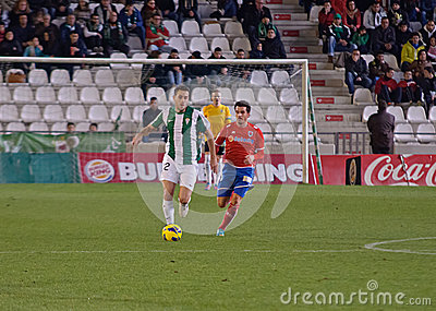 CORDOBA, SPAIN - JANUARY 13:kiko Olivas W(22) in action during match league Cordoba(W) vs Numancia (R)(1-0) at the Municipal Stadi Editorial Stock Photo