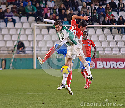 CORDOBA, SPAIN - JANUARY 13:Vincenzo Rennella W(12) in action during match league Cordoba(W) vs Numancia (R)(1-0) at the Municipal Editorial Stock Photo