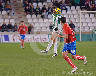 CORDOBA, SPAIN - JANUARY 13:Vincenzo Rennella W(12) in action during match league Cordoba(W) vs Numancia (R)(1-0) at the Municipal Editorial Stock Image