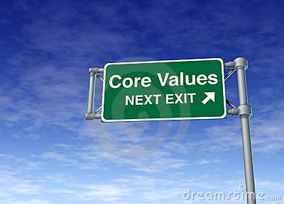 Core values business road sign symbol