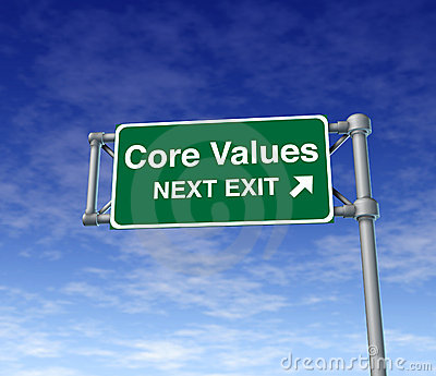 Core Values business symbol street road sign