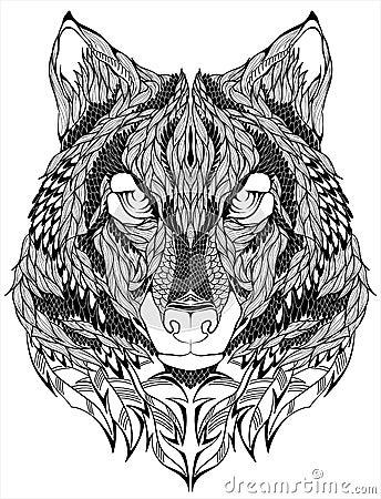 狼顶头纹身花刺 也corel凹道例证向量