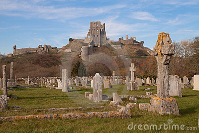 Corfe Castle from the village graveyard