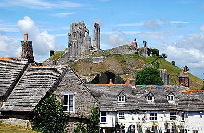 Corfe, England:Corfe Castle & Greyhound Pub Editorial Photography