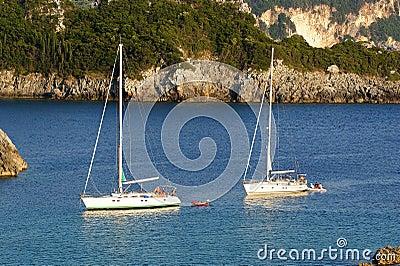 Corfu希腊爱奥尼亚人海岛paleokastritsa海运