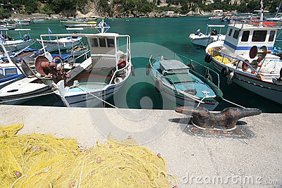 Corfu harbour in Kassiopi Editorial Photography