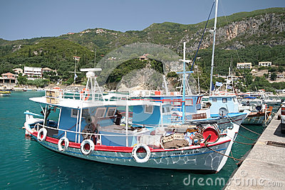 Corfu harbour in Kassiopi Editorial Stock Photo