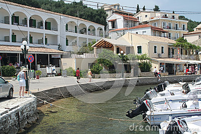 Corfu harbour in Kassiopi Editorial Stock Image