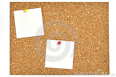 Cork board and blank notes.
