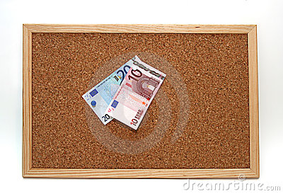 Cork board euro notes