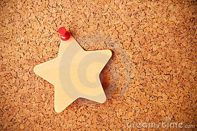 Cork board with star post-it