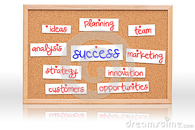 The cork board with Success planning