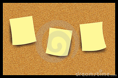 Cork Bulletin Board Post It Note Illustration