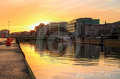 Cork city at sunset