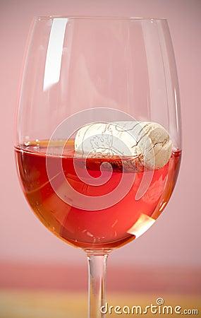 Cork in glass wine