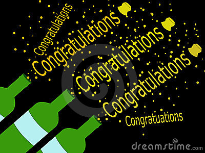 Cork popping congratulations illustration