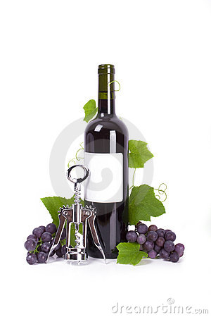 Cork-screw and bottle of red wine with grapes isol