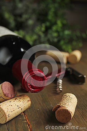 Cork wine and bottle