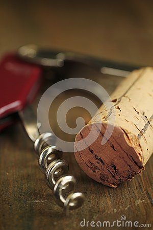Cork wine and corkscrew