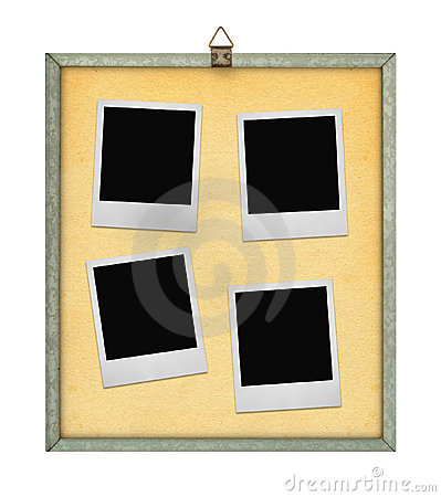 Corkboard with four photo frames