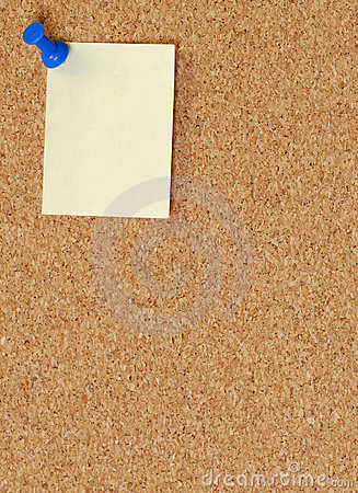 Corkboard with thumb tacked note