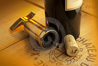 Corkscrew,cork and bottle