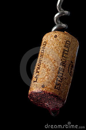 Corkscrew with a fresh estate bottled cork.