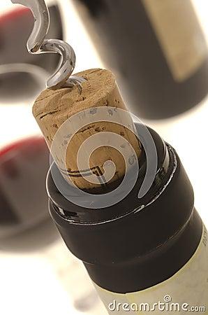 Free Corkscrew Opening Wine Bottle Stock Photography - 23198592