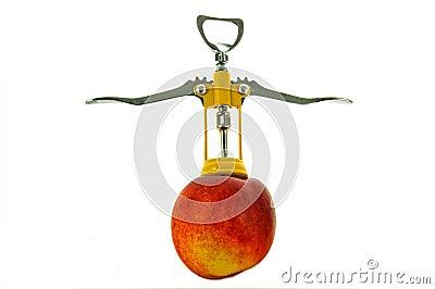 Corkscrew in a peach