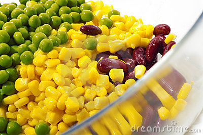 Corn beans and peas.