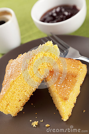 Corn cake with jam and coffee