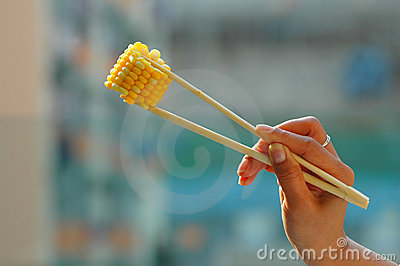 Corn on chopsticks