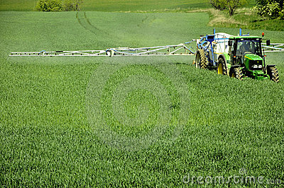 Corn fields and farm tractor Editorial Stock Photo