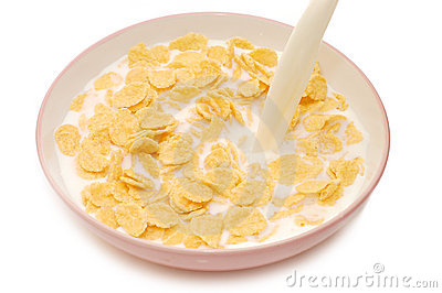 Bowl Of Cornflakes And Milk Bowl With Corn Flakes And Milk