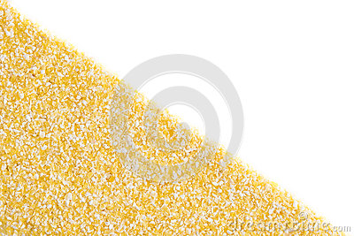 Corn grits on white background
