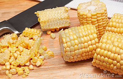 Corn kernels on the wooden board