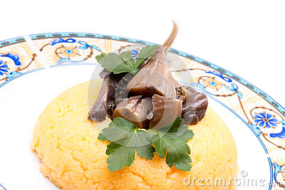 Corn Mush With Mushrooms